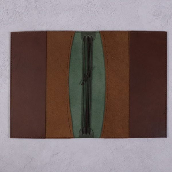 A5 leather journal library green cognac open