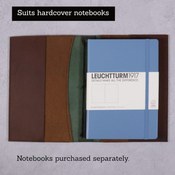 A5 leather journal library green cognac suits hardcover notebooks
