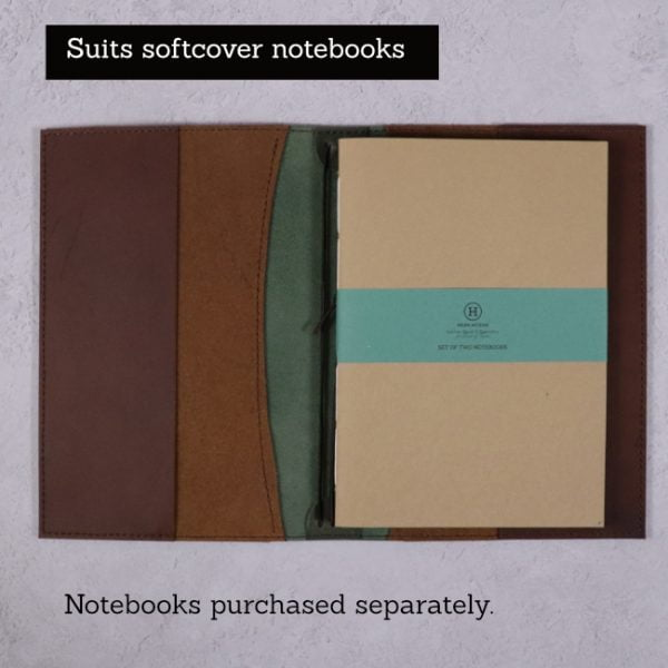 A5 leather journal library green cognac suits softcover notebooks