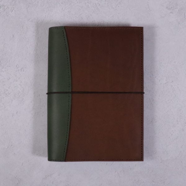A5 leather journal library green cognac with elastic closure