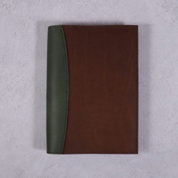 A5 leather journal library green cognac with no closure
