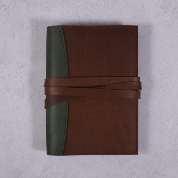 A5 leather journal library green cognac with tie closure
