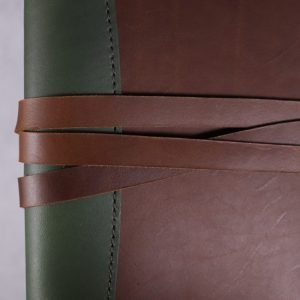 A5 Deluxe Leather Journal Cover – Tie Closure in Forest & Cognac Brown
