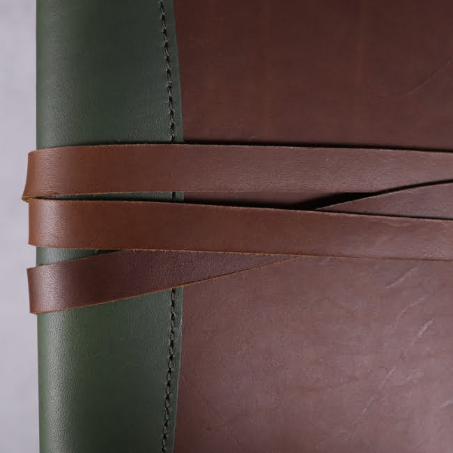 A5 leather journal library green cognac with tie detail 2