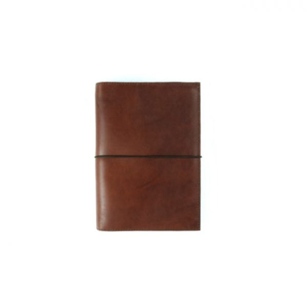 Pocket cognac leather notebook cover with elastic