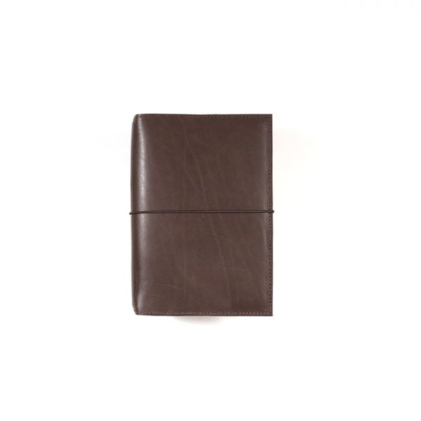 Pocket espresso leather notebook cover with elastic