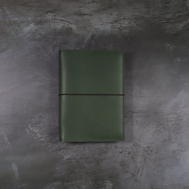 Pocket forest leather notebook cover with elastic