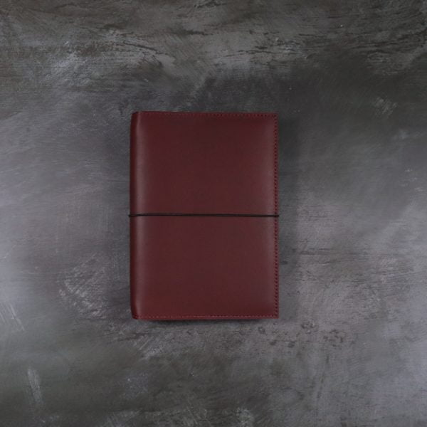 Pocket red leather notebook cover with elastic