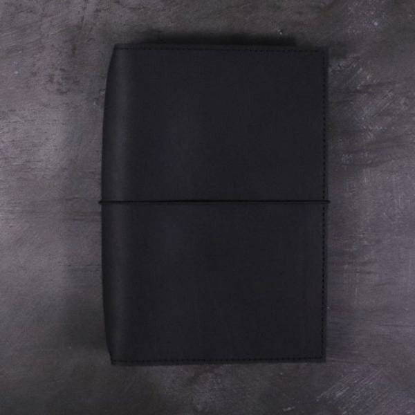 A5 black leather journal with elastic closure