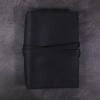 A5 black leather journal with tie