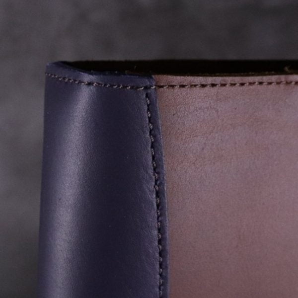 A5 leather journal library navy cognac detail 2