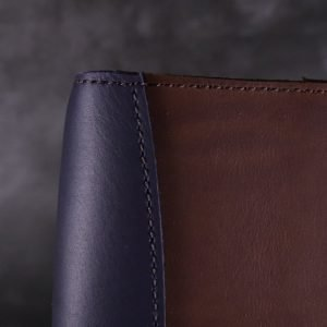 A5 Deluxe Leather Journal Cover – Elastic Closure in Navy & Cognac Brown