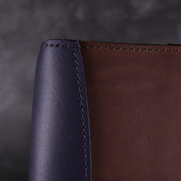 A5 leather journal library navy cognac detail 3