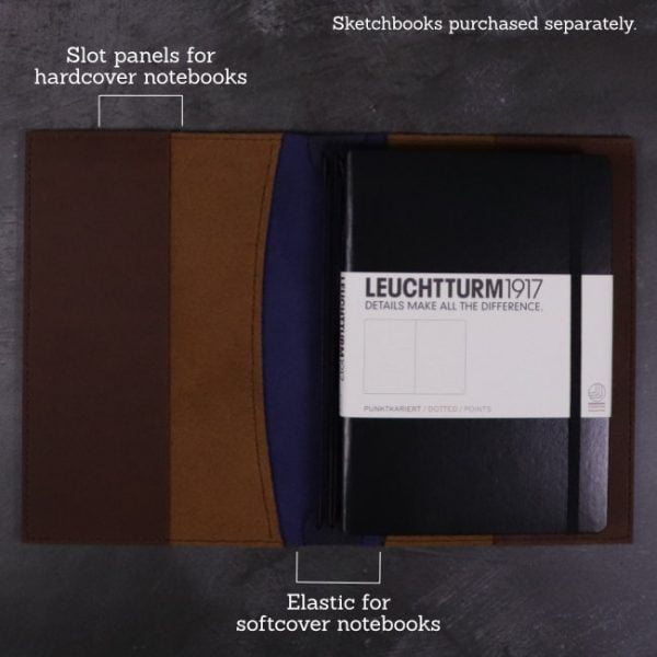 A5 leather journal library navy cognac suits hardcover notebooks