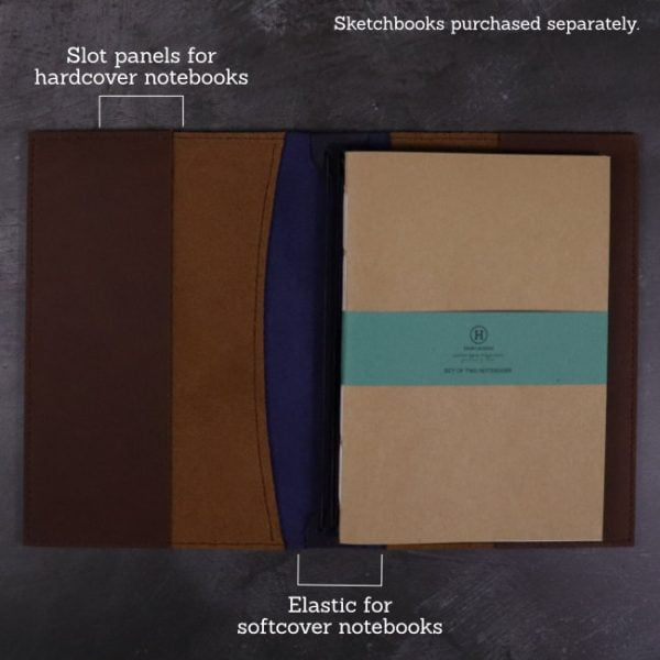 A5 leather journal library navy cognac suits softcover notebooks