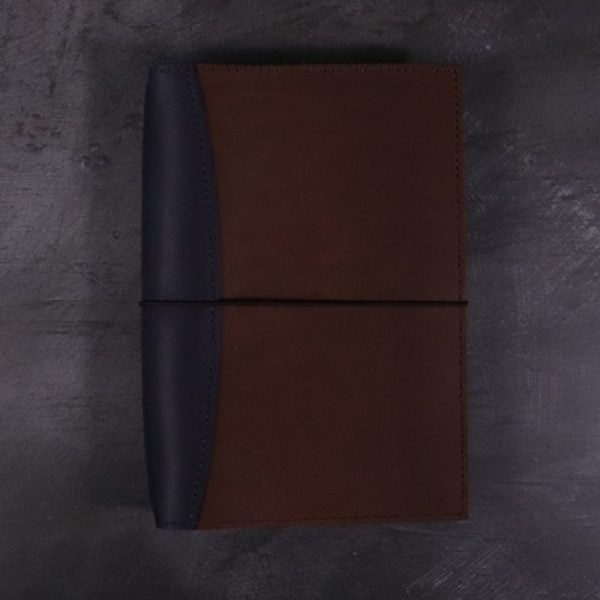 A5 leather journal library navy cognac with elastic closure