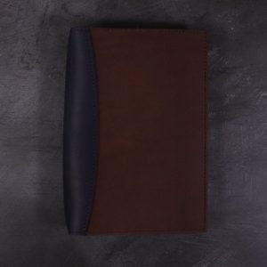 A5 Deluxe Leather Journal Cover – Navy & Cognac Brown