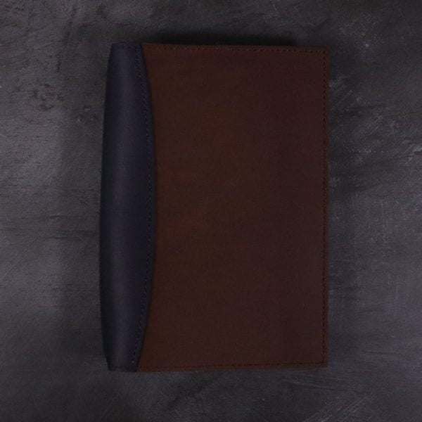 A5 leather journal library navy cognac with no closure