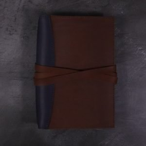 A5 Deluxe Leather Journal Cover – Tie Closure in Navy & Cognac Brown