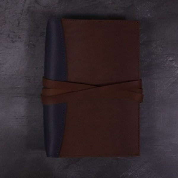 A5 leather journal library navy cognac with tie closure