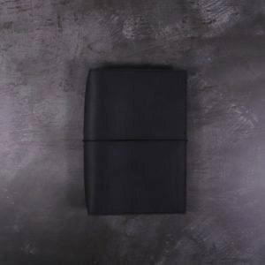 A6 Classic – Elastic Closure Black Leather Journal