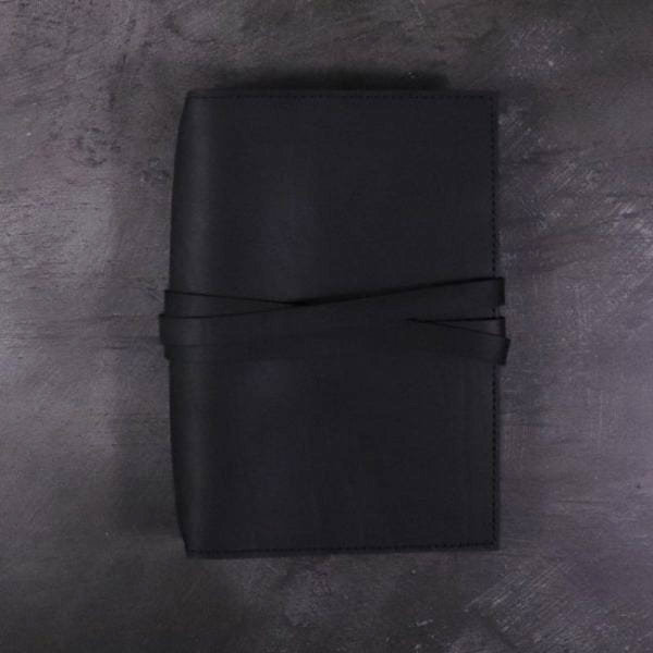 B6 black leather journal with tie