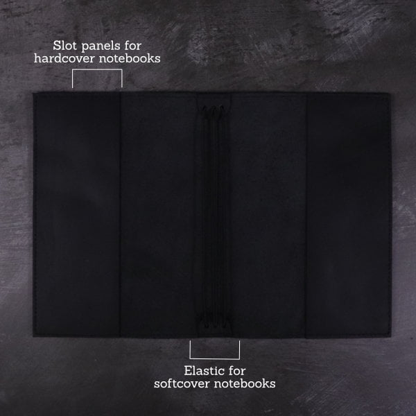 black leather notebook cover inside detail