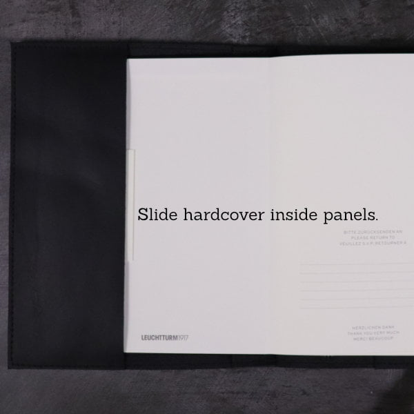 black leather notebook cover inside hardcover detail
