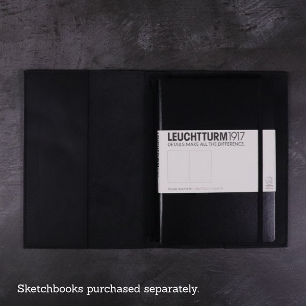 black leather notebook cover inside with hardcover book