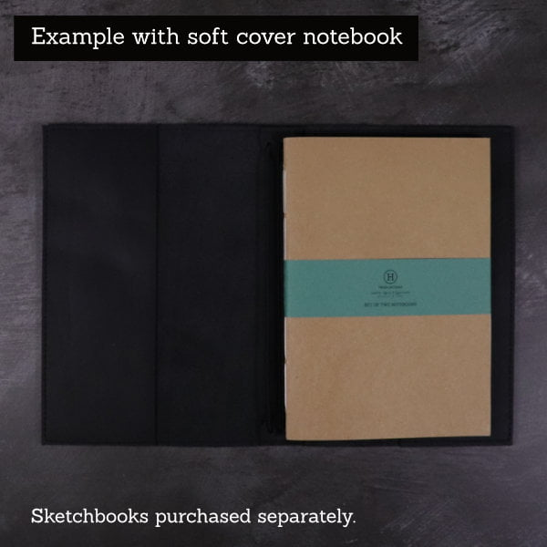black leather notebook cover inside with softcover book