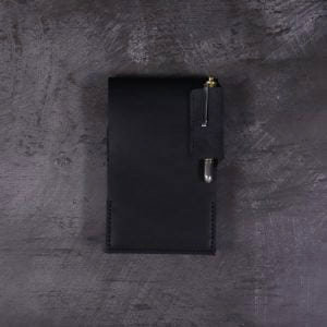 Small Leather Flip Notebook in Black with Pen
