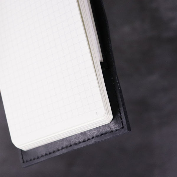 black leather small A6 flip notebook inside detail