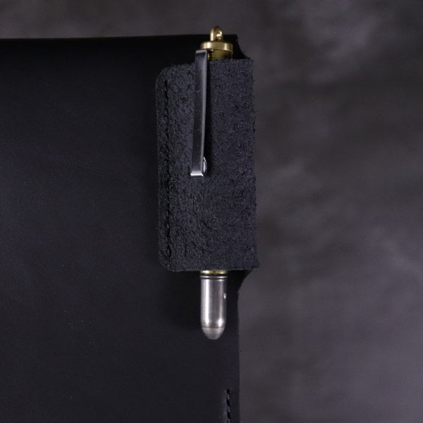 black leather small A6 flip notebook pen slot detail