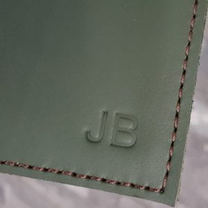 leather embossed letter initials 10mm